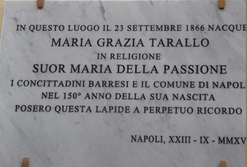 A Barra una lapide per la Beata Maria della Passione