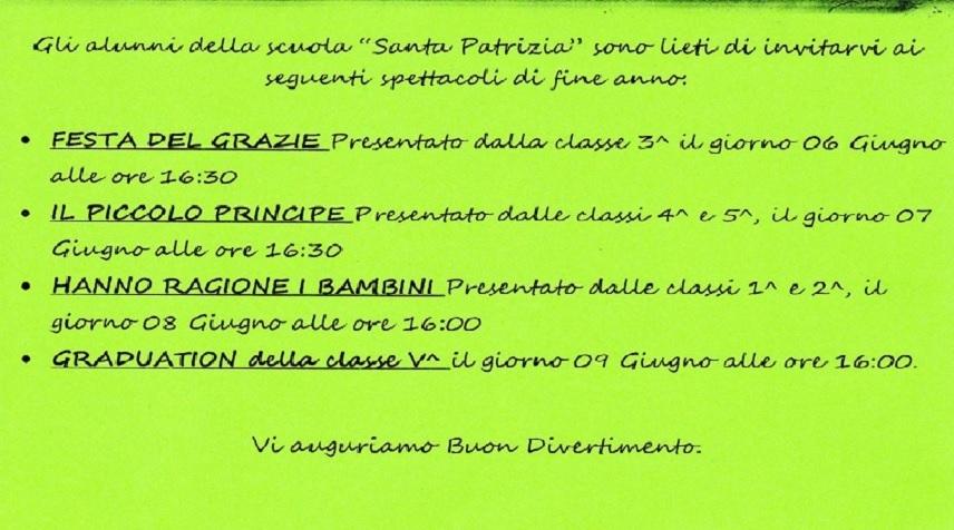 """Spettacoli di fine anno alla scuola """"Santa Patrizia"""""""